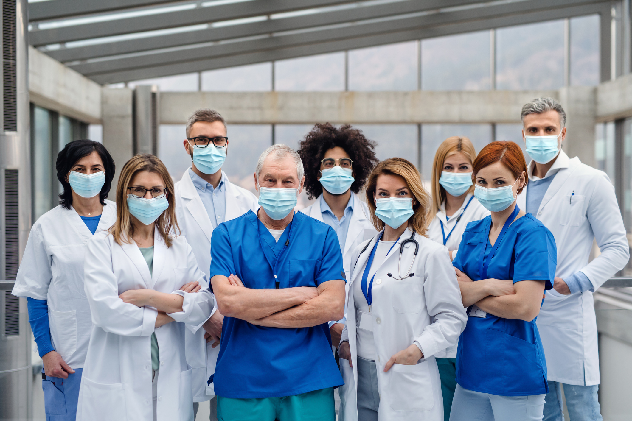 group of health care providers wearing masks